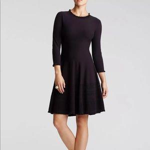 Kate Spade Flare Long Sleeve Black Sweater Dress